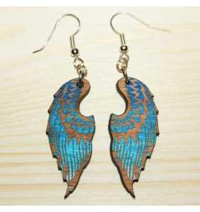 Dřevěné náušnice křídla 01 modrá duha
