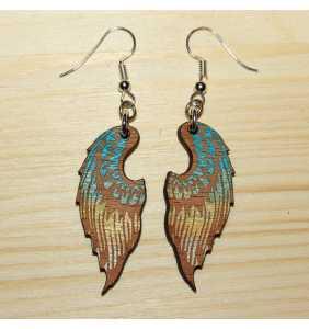 Dřevěné náušnice křídla 06 zlato modré