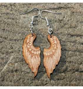 Dřevěné náušnice křídla 11 přírodní