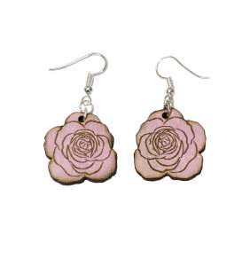 Dřevěné náušnice růže 02 růžová