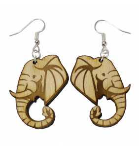 Dřevěné náušnice slon PŘÍRODNÍ