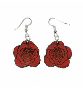 Dřevěné náušnice růže 01 červená
