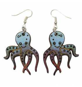 Dřevěné náušnice chobotnička č.02 modro-fialová