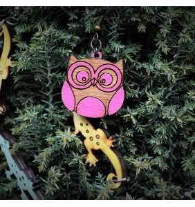Dřevěné náušnice sovička růžová
