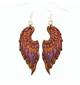 Dřevěné náušnice křídla 14 fialovo růžová
