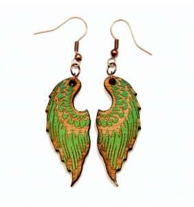 Dřevěné náušnice křídla 12 zelené