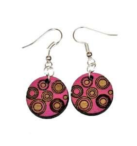 Dřevěné náušnice kolečko č.26 růžové kruhy