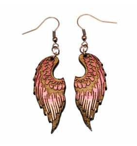 Dřevěné náušnice křídla 5 růžová duha