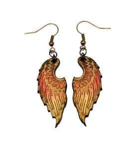 Dřevěné náušnice křídla 08 červená duha